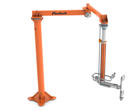 Articulated Jib Boom shown with an optional Positech vertical lift an end effector