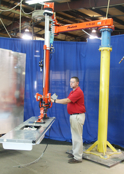 Articulated Jib Arm pedestal mounted with vertical lift and custom tool