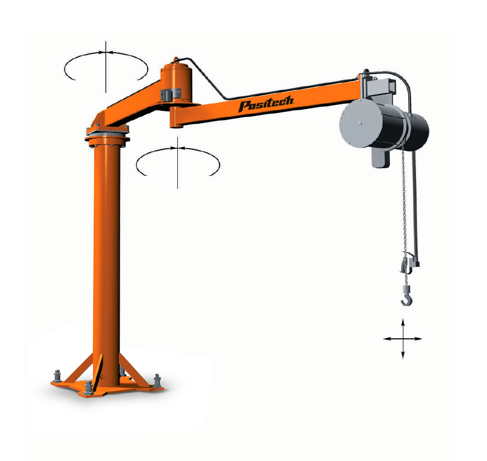 Articulated Jib arm shown pedestal mounted with a pneumatic balancer