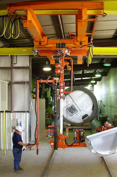 Simple Air Manipulator shown with a powered trolley and adjustable height controls