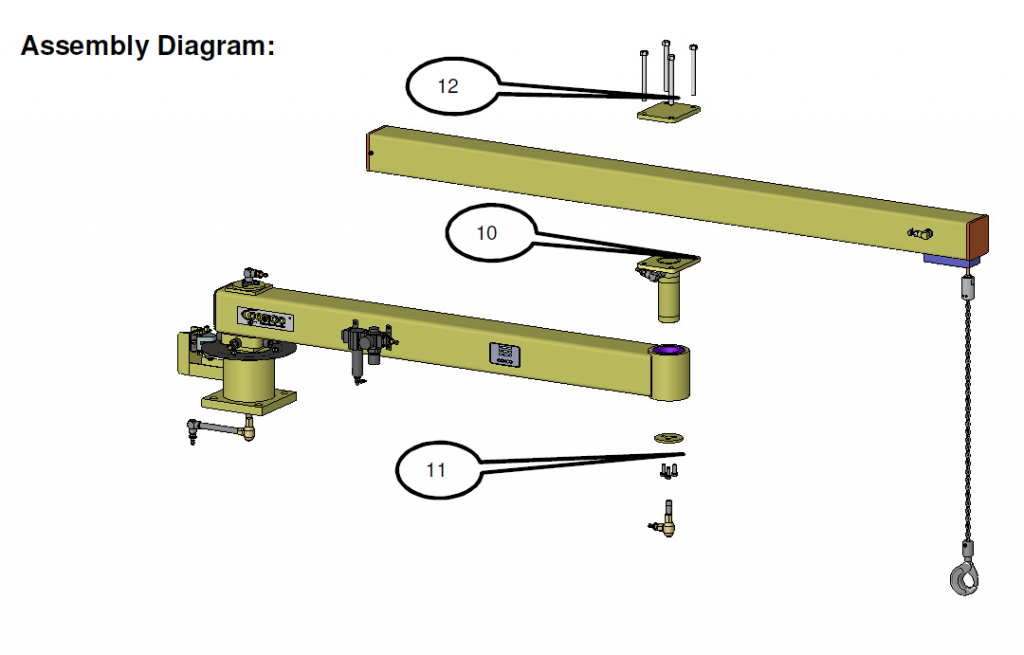 Articulated jib arm shown with integrated lift arm top mounted