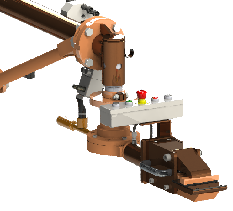3D model of grip tooling showing push button controls for variable speed up and down and grip / release